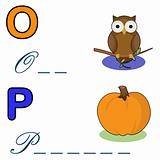 alphabet word game ,owl and pumpkin