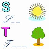alphabet word game , sun and tree