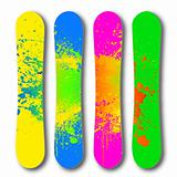 Grunge colorful snowboard set. Vector