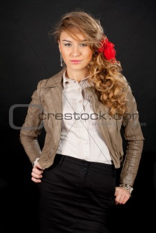 Beautiful model with red bow, isolated on