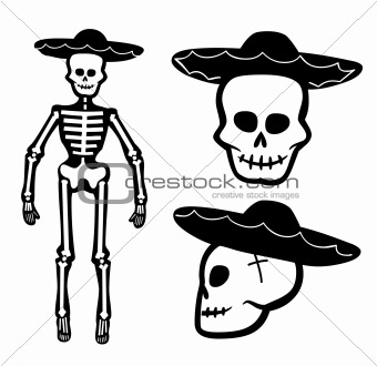 Skeleton Cowboy. Vector