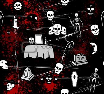 Skulls Seamless Pattern on black cover. Vector