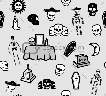 Skulls Seamless Pattern. Vector illustration