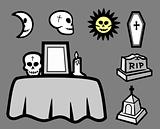 Set skulls and funeral element. Vector art