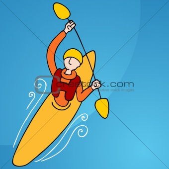 Rowing Kayak Man
