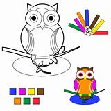 coloring book sketch: owl