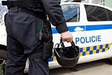 police helmet and a gun