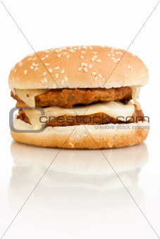Double Burger On White Background