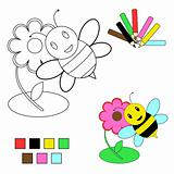 coloring book sketch :bee and flower