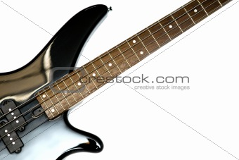Fragment of black  Bass Electric Guitar With Four Strings, isola