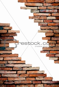 porous wall on white background