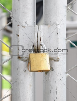 closeup metal door with lock in grungy style