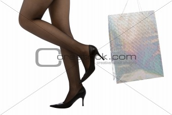 woman carrying shopping bag, isolated on white background
