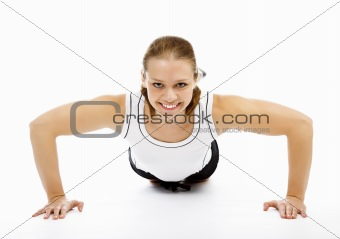 Woman doing pushups on white floor