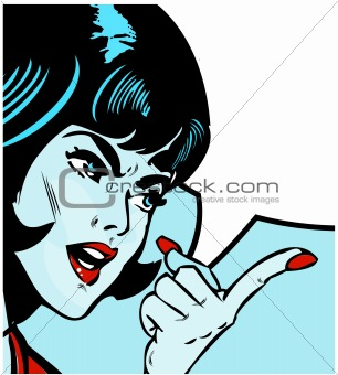 angry woman pointing over comics book style