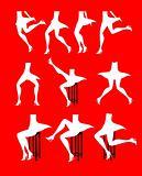 Ten woman legs silhouettes