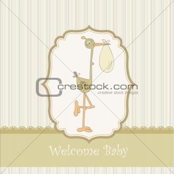 welcome baby card with stork