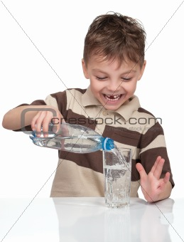 Boy with a bottle of water
