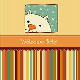 Birth card announcement with cat