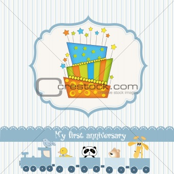 baby birthday card with cake