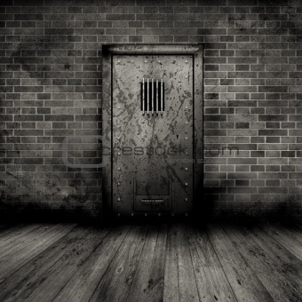 Grunge interior with prison door