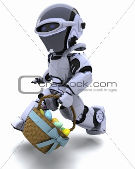 robot with basket of easter eggs