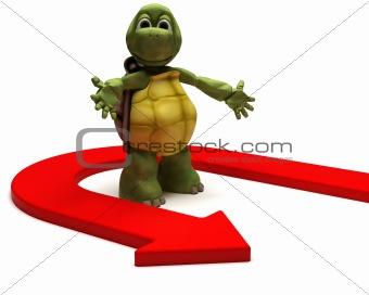 Tortoise with u turn arrow