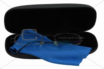 Elegant glasses in black case with blue cleaning cloth