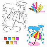 coloring book sketch : umbrella