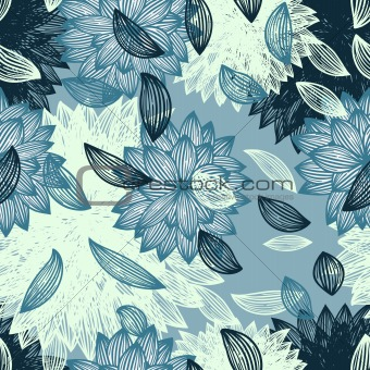 seamless background with flower and  blown petals