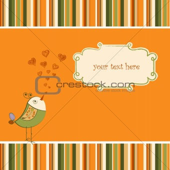 cute love card with bird