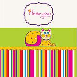 cute love card with cat