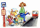naughty school children on bus stop