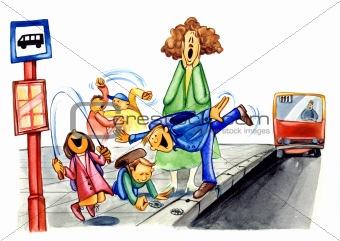 Image description painting illustration of naughty school children on