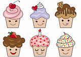 cute cupcake faces, vector