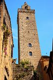 Medieval Stone Cuganensi Tower Flowers San Gimignano Tuscany Ita