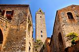 Medieval Stone Cuganensi Tower Ancient Buildings San Gimignano T