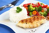 Chicken Breast with Vegetables and Rice