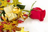 Red Rose and Golden Present