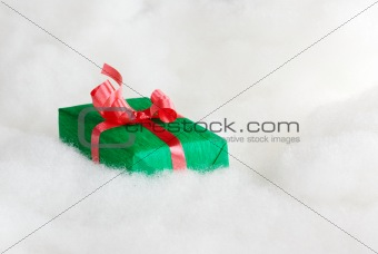 Green Gift with Red Ribbon