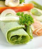 Rolled Thin Green Pancake