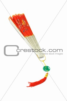 Close Chinese traditional folding fan