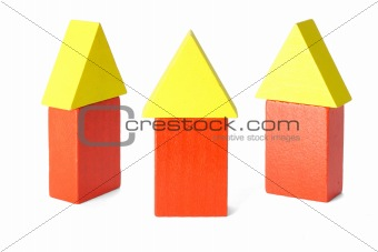 Three wooden block houses