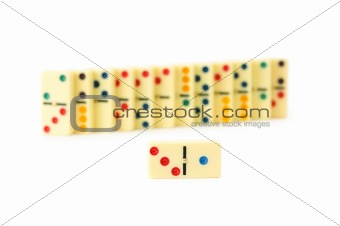 Colourful dominoes isolated on the white