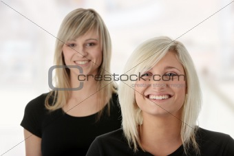 Portrait of two casual caucasian women