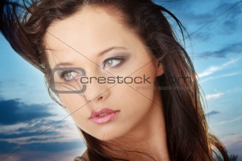 Beauty caucasian woman face
