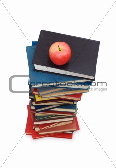"""Back to school"" concept with books and apple"