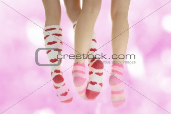 Four legs with colorful socks