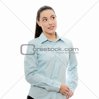 Young pretty businesswoman in white background