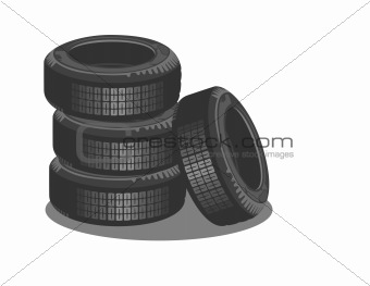 Brand new tires on a white background